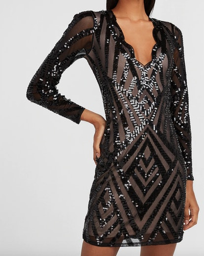 Sequin Scalloped V-Neck Sheath Dress