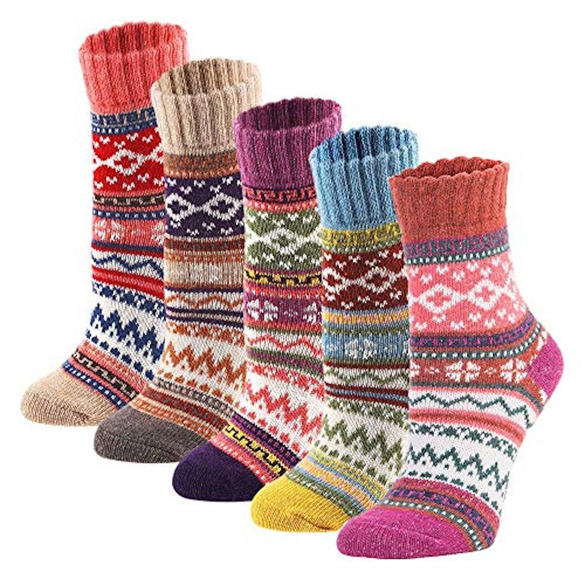 YZKKE Vintage Style Winter Socks (5-pack)