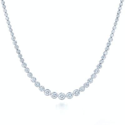 Necklace with Bezel Set Graduated Diamonds