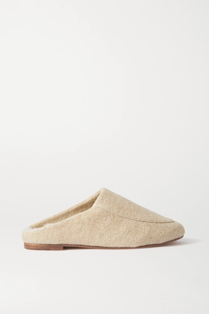 Shearling-Lined Felt Slippers