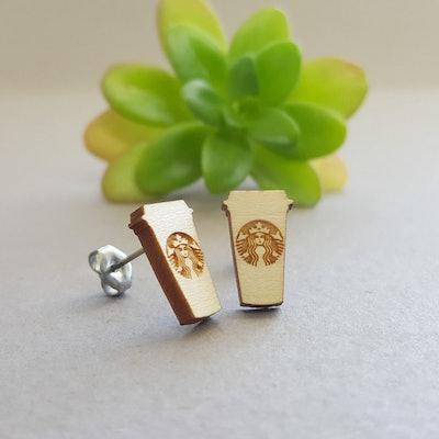 Starbucks Cup Maple Wood Earrings