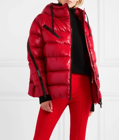 Liriope Hooded Quilted Glossed-Shell Down Jacket