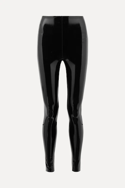 Faux patent-leather leggings