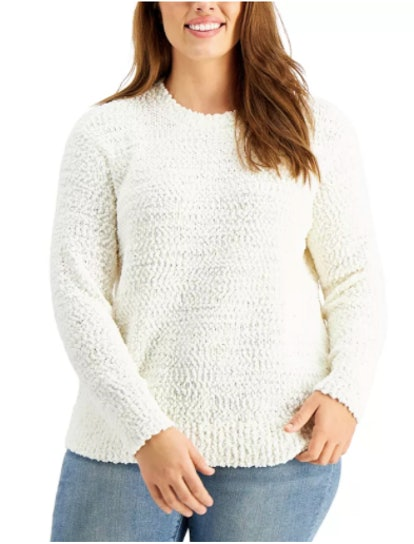 Style & Co Plus Size Teddy Bouclé Sweater, Created For Macy's