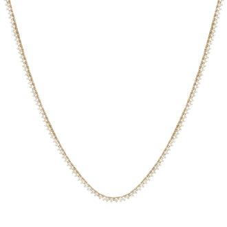 14k Prong Diamond Tennis Necklace