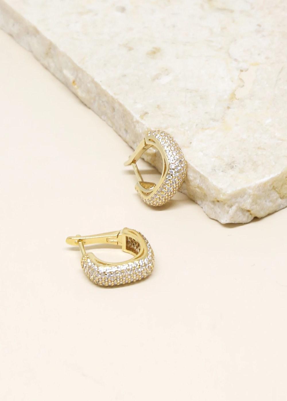 Little Reminders Crystal 18k Gold Plated Mini Hoop Earrings