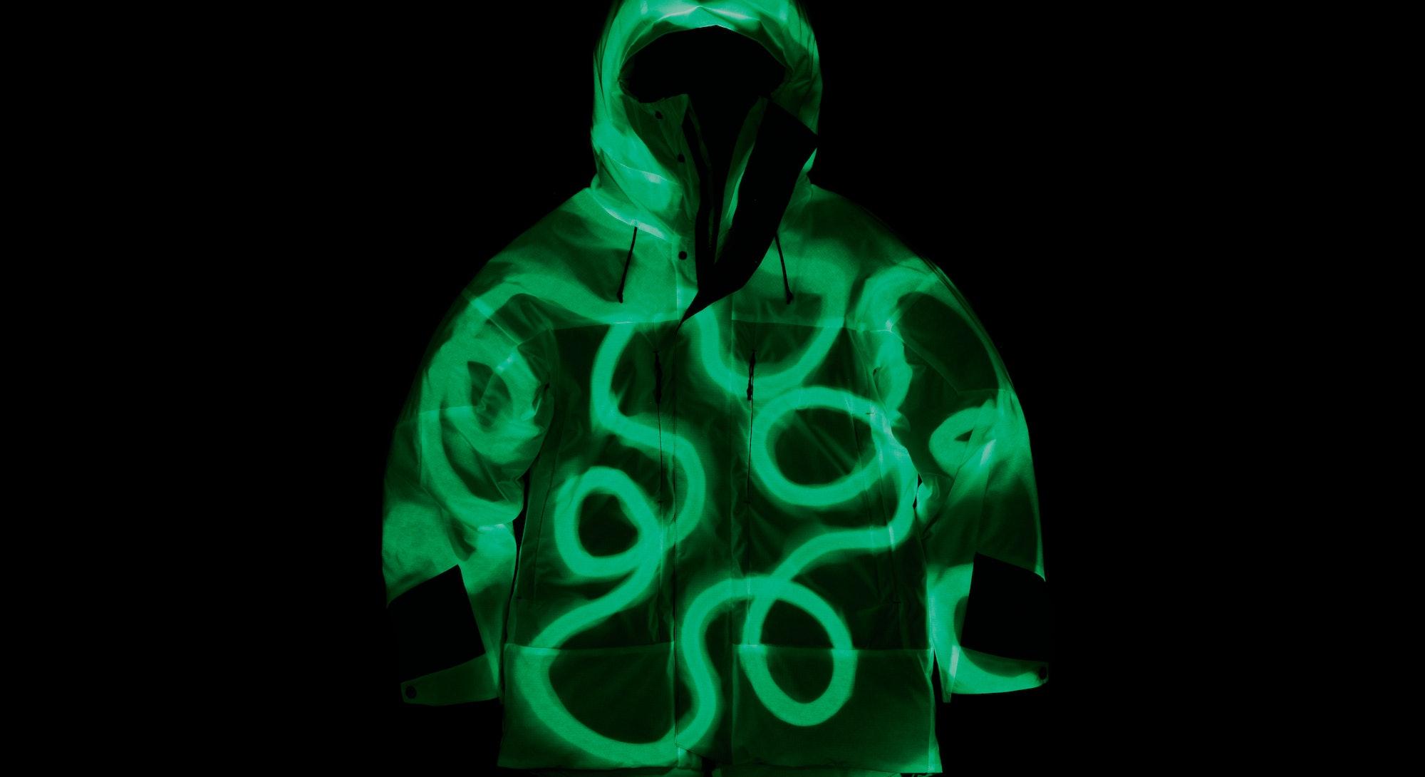 Vollebak's newest puffer jacket which is glow-in-the-dark