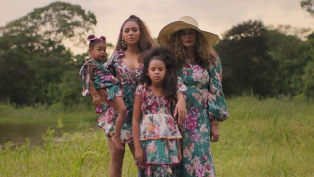 """Beyoncé, Tina Knowles-Lawson, Blue Ivy Carter, and Rumi Carter appear together in a scene from """"Brown Skin Girl."""""""