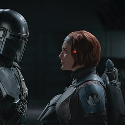 Pedro Pascal as Mando and Katee Sackhoff as Bo-Katan Kryze in 'The Mandalorian' via the Disney press site