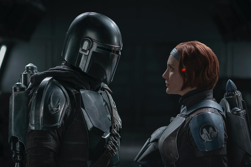 Pedro Pascal as Mando and Katee Sackhoff as Bo-Katan Kryze in 'The Mandalorian' via the Disney press site