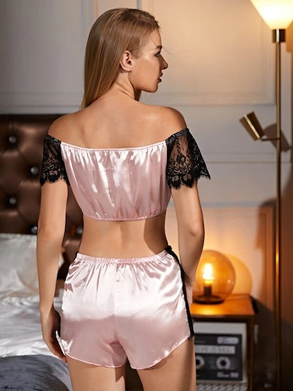 Bardot Contrast Lace Satin PJ Set