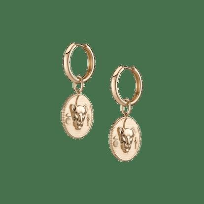 Lioness Pendant Hoop Earrings