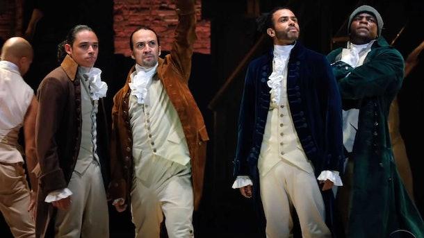 """Anthony Ramos, Lin-Manuel Miranda, Anthony Ramos, and Okieriete Onaodowan in """"Hamilton."""""""