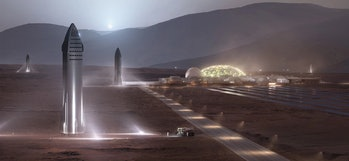 The SpaceX starship on Mars.