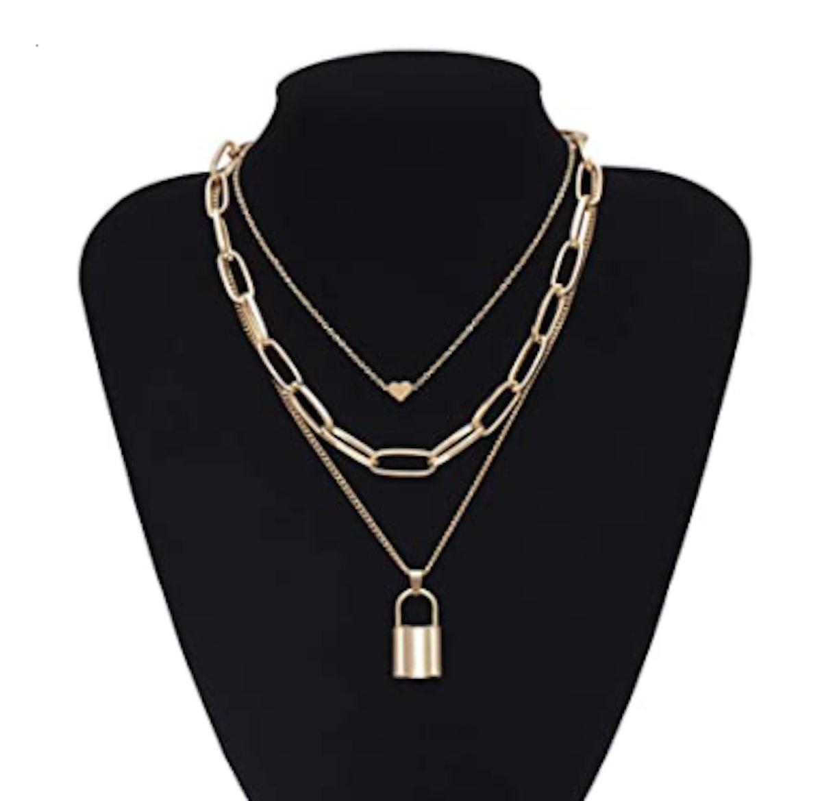 Salircon Layered Necklace Lock & Key Pendant