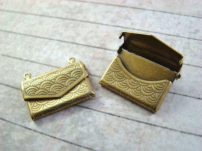 Antique Brass Envelope Lockets