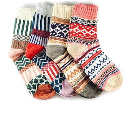 JOYCA & Co. Multicolor Warm Wool Winter Socks (4 Pairs)