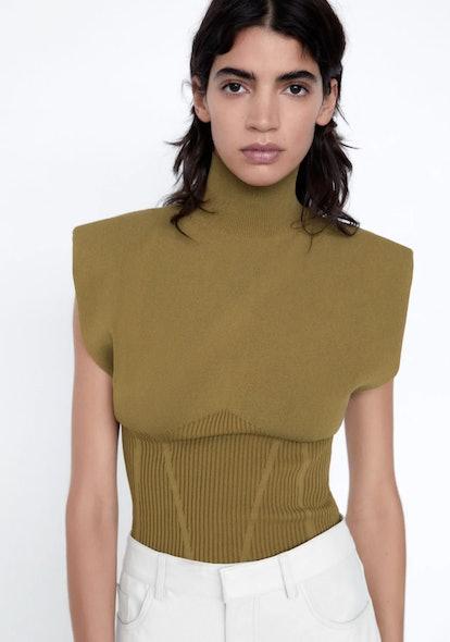 Shoulder Pad Knit Top