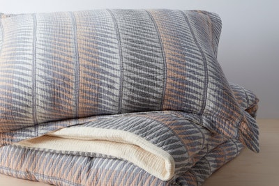 Organic Matelasse Feather Stripe Duvet Cover Set