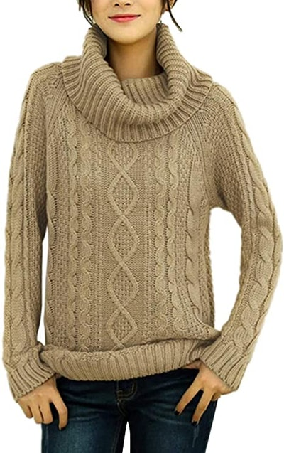 v28 Pure Cotton Cowl Neck Cable Knit Sweater