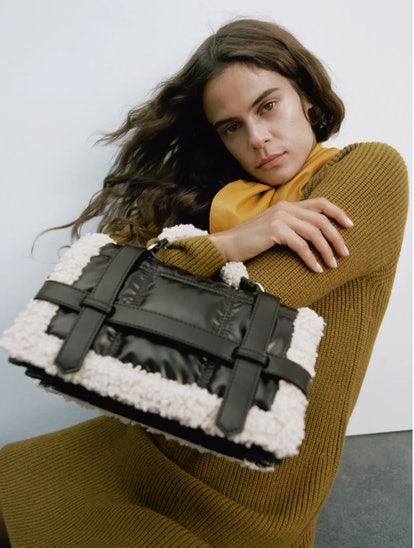 Fleece Trim Quilted City Bag