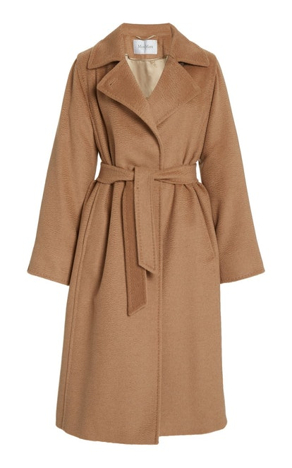 Manuela Belted Camel Wool Trench Coat