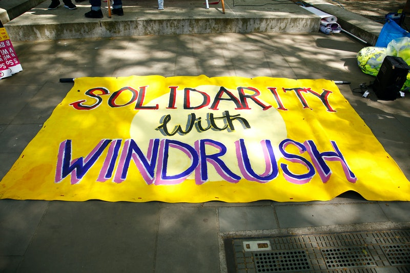 Windrush protest sign