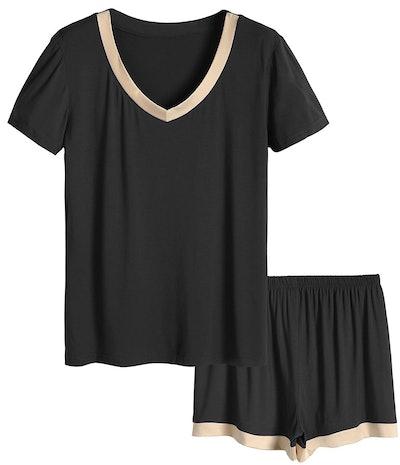 Latuza Women's V-Neck Short-Sleeve Pajama Set
