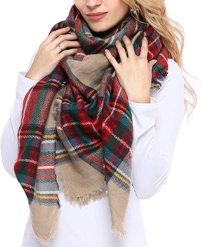 Bess Bridal Plaid Blanket Winter Scarf