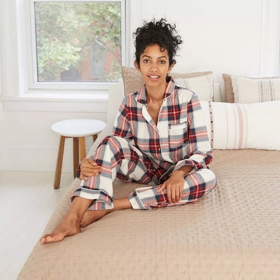  Women's Plaid Perfectly Cozy Flannel Long Sleeve Notch Collar Top And Pants Pajama Set