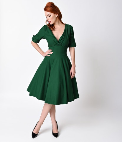 Unique Vintage 1950s Emerald Green Delores Swing Dress with Sleeves