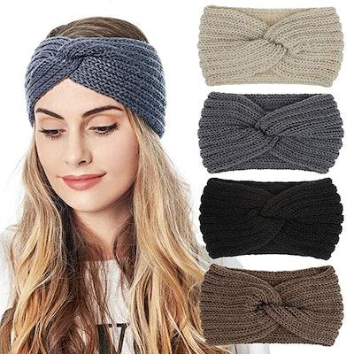 QUEXIAOMIN Knitted Headbands (4-Pack)