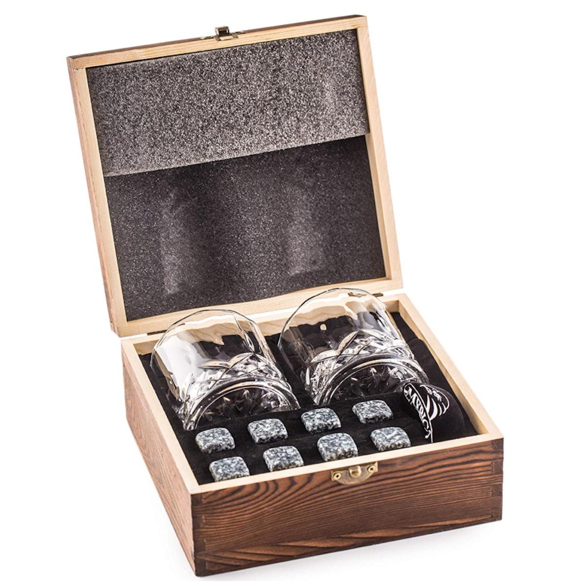 Whiskey Glasses and Stones Gift Set