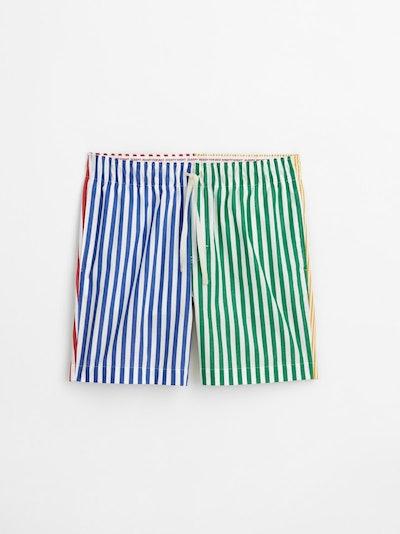 P'Jimmies Sleep Short in Scrambled Stripes