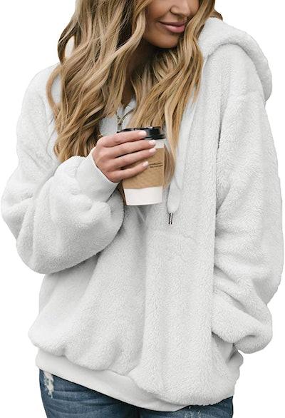 Acelitt Fuzzy Oversized Sweatshirt With Pockets