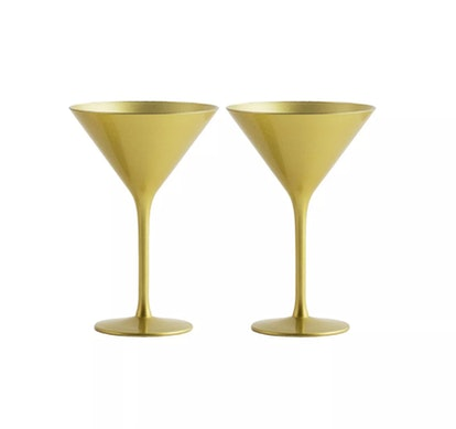 8oz 2pk Crystal Olympia Martini Glasses Gold - Stoelzle
