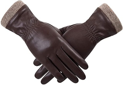 REDESS Lined Leather Texting Gloves