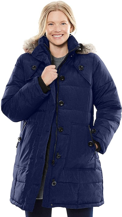 Woman Within Women's Plus Size Heathered Down Puffer Coat