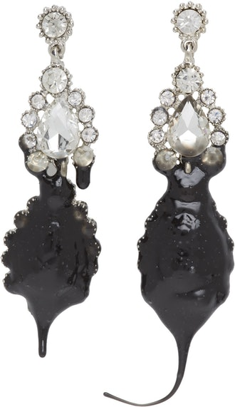 Black Dipping Asymmetrical Earrings
