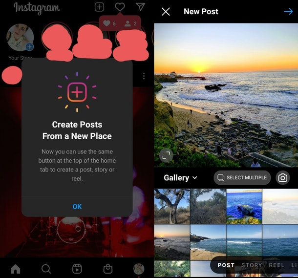 Here's how to post with Instagram's new update, because it's in a different spot.