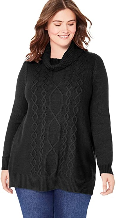 Woman Within Plus Size Cable Turtleneck