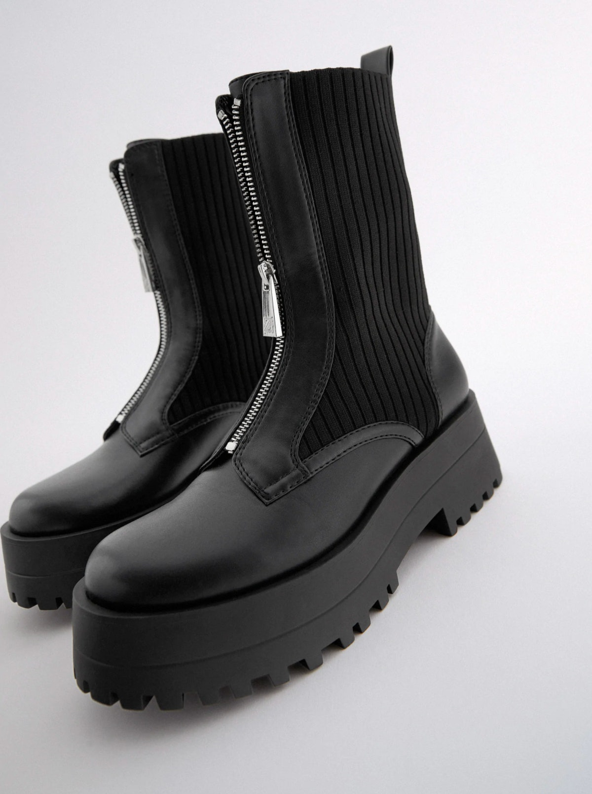 Low Heeled Sock-Style Zip Ankle Boots TRF