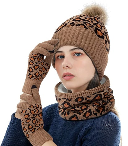ADUO Leopard-Print Knitted Hat, Scarf, & Gloves Set