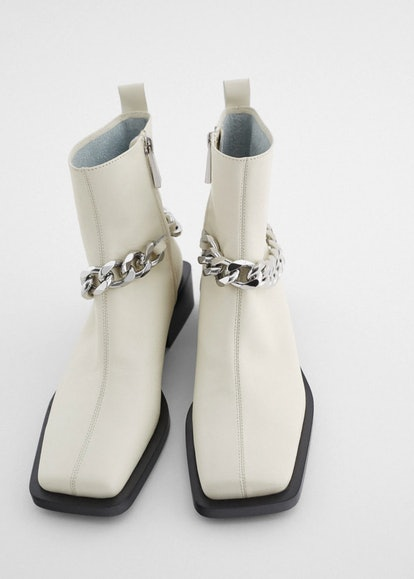 Chain Trim Low Heel Leather Ankle Boots