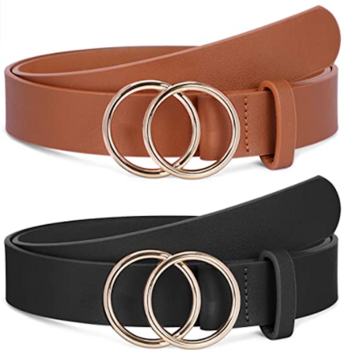 SANSTHS Faux Leather Belts (2 Pack)