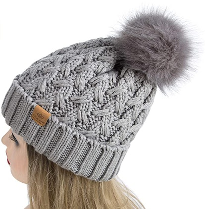 PAGE ONE Chunky Cable-Knit Pompom Beanie