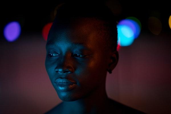 Black girl posing at night