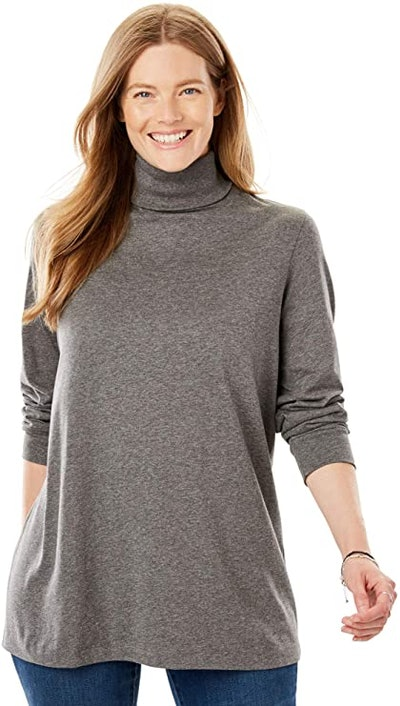 Woman Within Plus Size Perfect Long-Sleeve Turtleneck