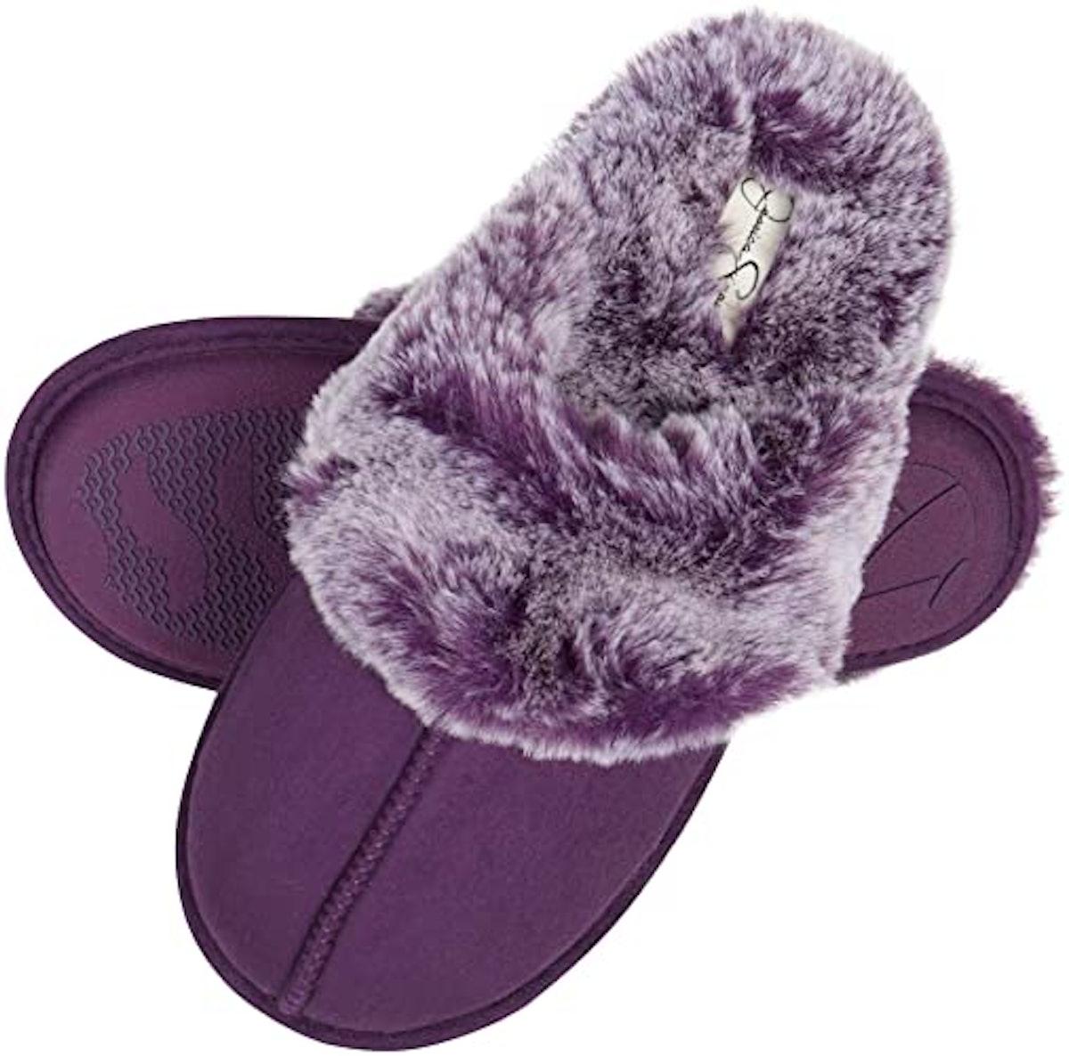 Jessica Simpson Memory Foam Faux Fur House Slippers