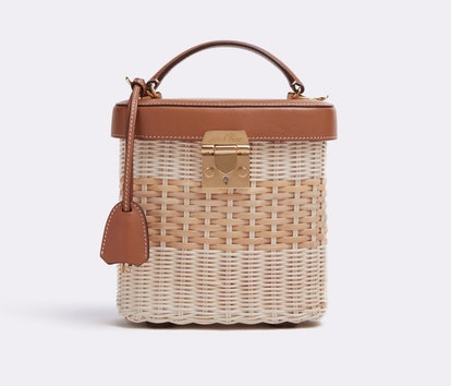 Benchley Rattan & Leather Top Handle Bag